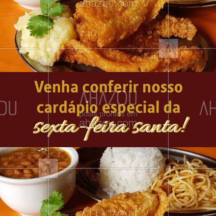 Não precisa se preocupar com o almoço da sexta-feira santa. Venha nos visitar ou peça pelo delivery! #restaurante #alacarte #foodlovers #selfservice #ahazoutaste #sextafeirasanta #refeiça #almoço #jantar