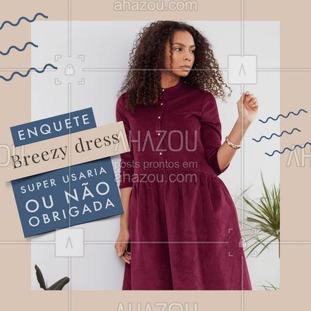 Com a modelagem mais fluida e soltinha o breezy dress vem em versões midi e longo trazendo uma proposta diferente para o verão. Mas conta para a gente, essa moda você usaria ou não? Deixe sua resposta nos comentários. #moda #moda #outfit #style #fashion #OOTD #AhazouFashion #tedencia #enquete #breezydress #estilo #usaounaousa