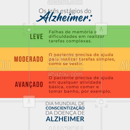 O Alzheimer é progressivo e os sintomas podem ser divididos em três fases. Fique atento aos sinais iniciais para que um diagnóstico precoce garanta uma vida melhor por mais tempo! Dia Mundial de Conscientização da Doença de Alzheimer #ahazou #motivacionais  #frasesmotivacionais  #quote  #motivacional  #sinais #diagnóstico #qualidadedevida #sinais #diamundialdeconscientizaçãodadoençadealzheimer