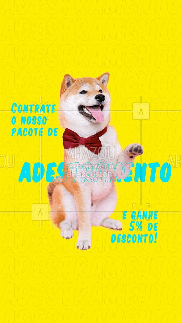 Já pensou em adestrar o seu pet e ganhar um desconto? Vem contratar o nosso pacote de adestramento e garanta o nosso desconto ? #AhazouPet #adestramento #adestrador #pets #cachorro #desconto #pacote