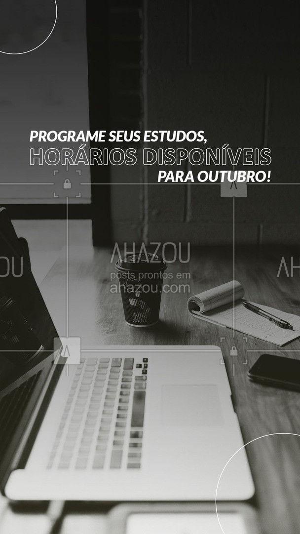 Seus estudos precisam de atenção, programe seus próximos passos. Agenda de Outubro aberta, aproveite! 📚 #AhazouEdu #aulasdeingles #aulasdeespanhol #aulaparticular #professordemusica #música #aulademusica
