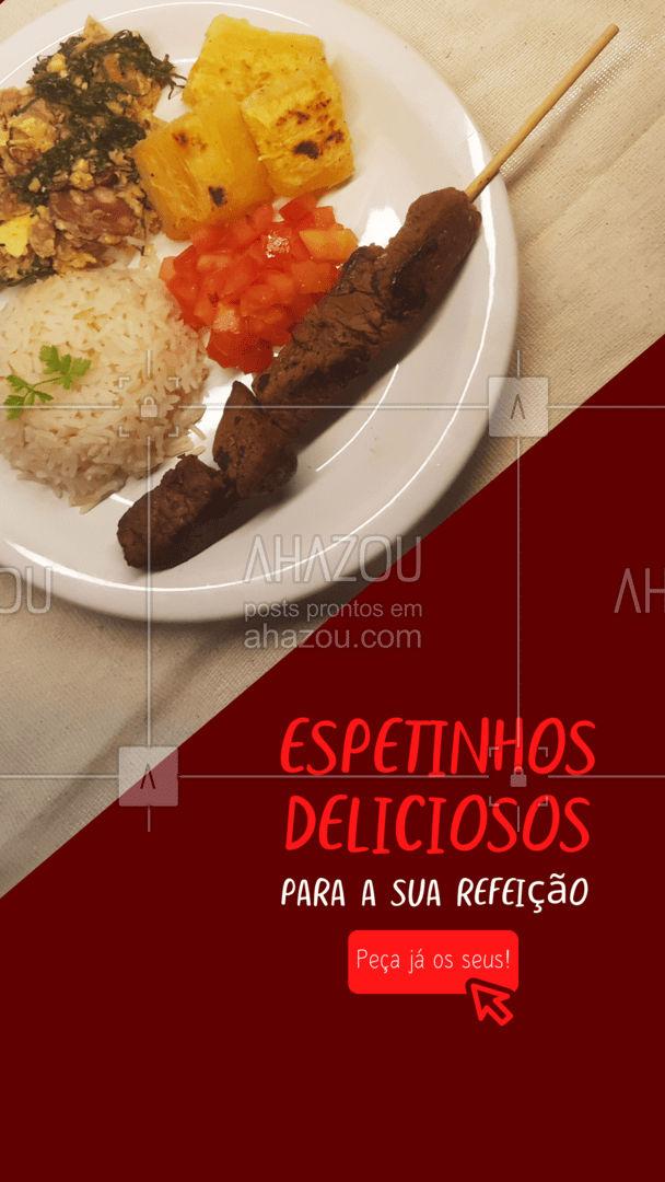 Confira todas as opções deliciosas de espetinho disponíveis e faça seu pedido sem sair de casa! #churrasco #espetinho #bbq #ahazoutaste #refeição #barbecue #delivery