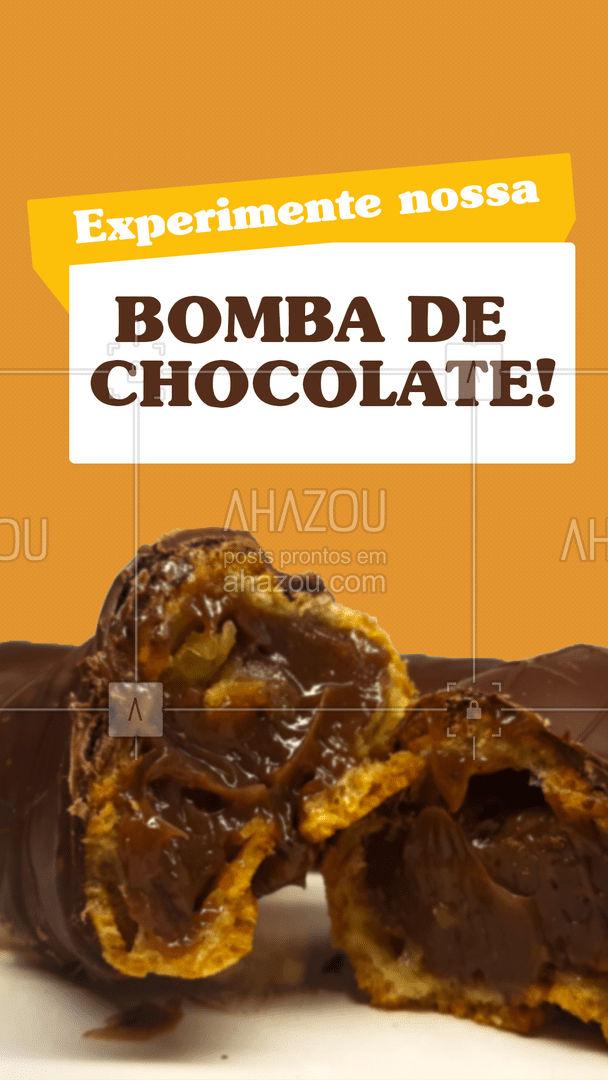Nada como o sabor da explosão de chocolate! Experimente nossa bomba de chocolate, você vai amar!😉  #ahazoutaste #padaria  #padariaartesanal  #doces  #bakery  #panificadora  #confeitaria #bombadechocolate #docinho #experimente