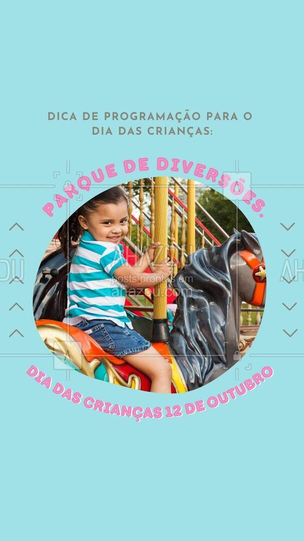 Que tal levar a criançada em um parque de diversões nesse Dia das Crianças? É um local repleto de brinquedos para todas as idades, com um ambiente muito animado. Além disso, as crianças podem se deliciar com as guloseimas que vendem por lá. Pode ir sem medo!👦🎡🎢 #dicas #crianças #diadascrianças #programação #lugares #AhazouTravel #viagens  #agentedeviagens  #viagem  #viajar  #trip  #agenciadeviagens