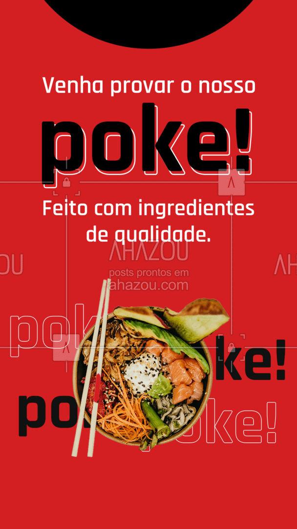 Ingredientes saborosos e de qualidade você encontra no nosso poke, uma opção deliciosa para a sua refeição ficar especial ? #ahazoutaste #poke #qualidade #ingredientes #japa #restaurante #refeição