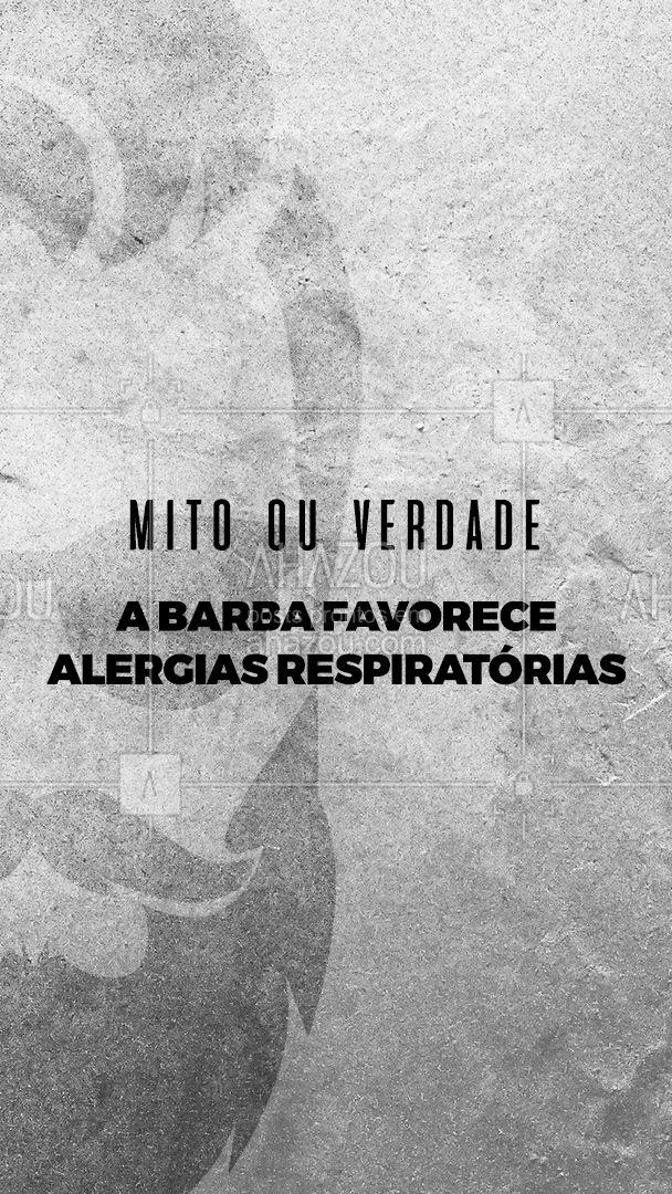 Mito! ❌ ⠀ Fazendo a higienização da barba, não tem por que temer que ela se torne um depósito de ácaros e poeiras. ⠀ Pelo contrário, a barba funciona como uma barreira que impede a entrada de substâncias alérgicas nas vias respiratórias, diminuindo as crises de asma e alergias. #AhazouBeauty #barberLife #barba #cuidadoscomabarba