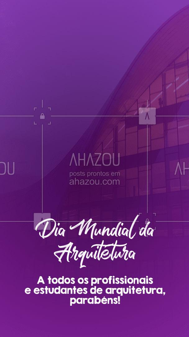 Hoje é dia de celebrar a beleza de um dos serviços essenciais à estrutura da sociedade moderna 🤩 Viva a arquitetura! #AhazouDecora #AhazouArquitetura #diamundialdaarquitetura  #arquiteto  #arquitetura #datacomemorativa