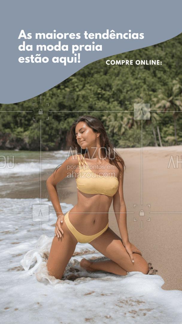 Confira todas as tendências e novidades da moda praia disponíveis no nosso site para você e faça suas compras sem sair de casa! #modapraia #praia #ecommerce #AhazouFashion #fashion #beachwear #tendencia
