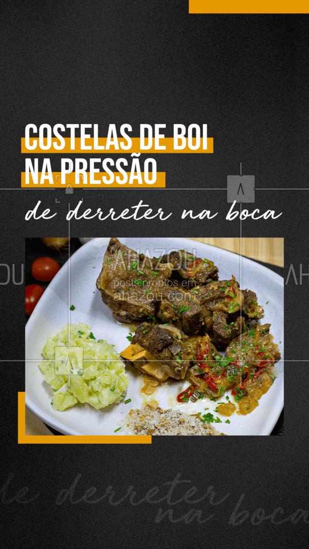 Quando preparada na panela de pressão, a carne da costela de boi fica tão macia que vai derreter na sua boca. ? #ahazoutaste #costeladeboi #cozido #carne #comida