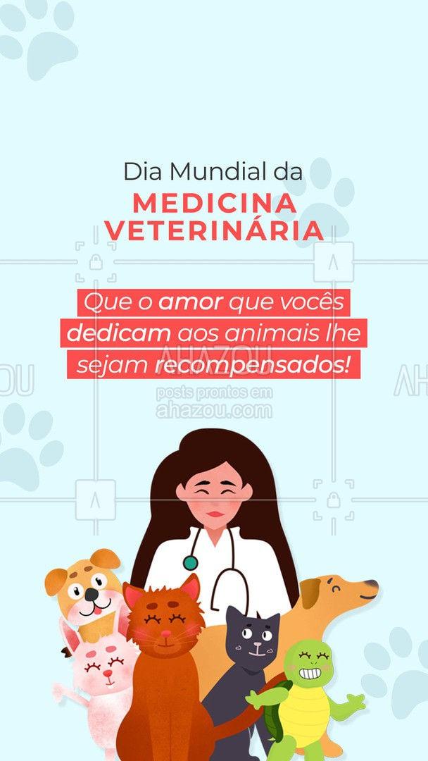 Hoje é o Dia da Medicina Veterinária! Muito obrigado por cuidar dos nossos anjos de quatro patas! #AhazouPet #ilovepets #medvet #clinicaveterinaria #veterinary #diadamedicinaveterinaria #veterinario