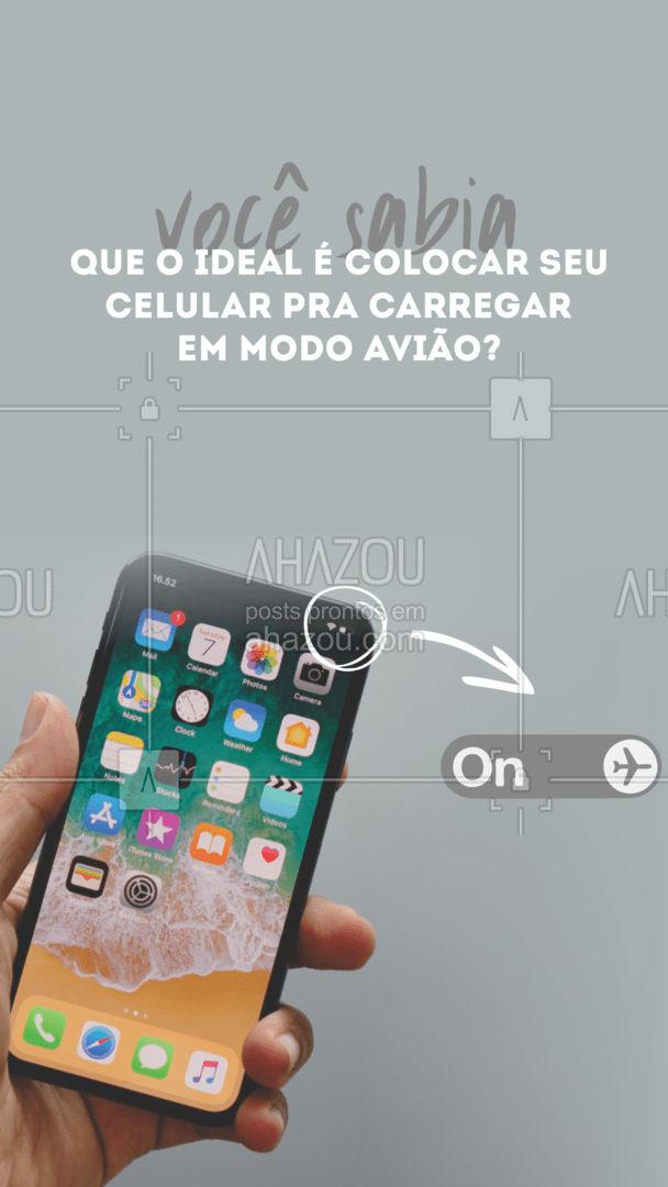 Sim, especialistas recomendam que todos nós coloquemos o celular em modo avião quando for carregar, o motivo é bem simples ele não sobrecarrega o processador fazendo o celular carregar mais rápido. #AhazouTec #AssistenciaCelular #computadores #eletrônicos #celulares #AhazouTec #AhazouTec