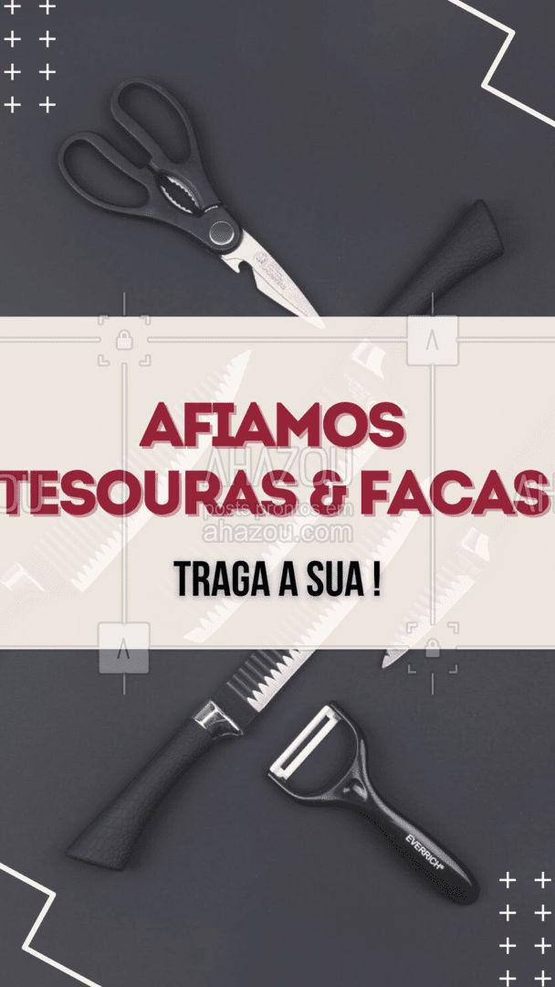 Aposto que você tem muitas facas e tesouras que não usa mais só porque elas não cortam mais, que tal trazer elas de volta a função? ✂️ #AhazouServiços #afiação #chaveiro #convite #facas #teusoras