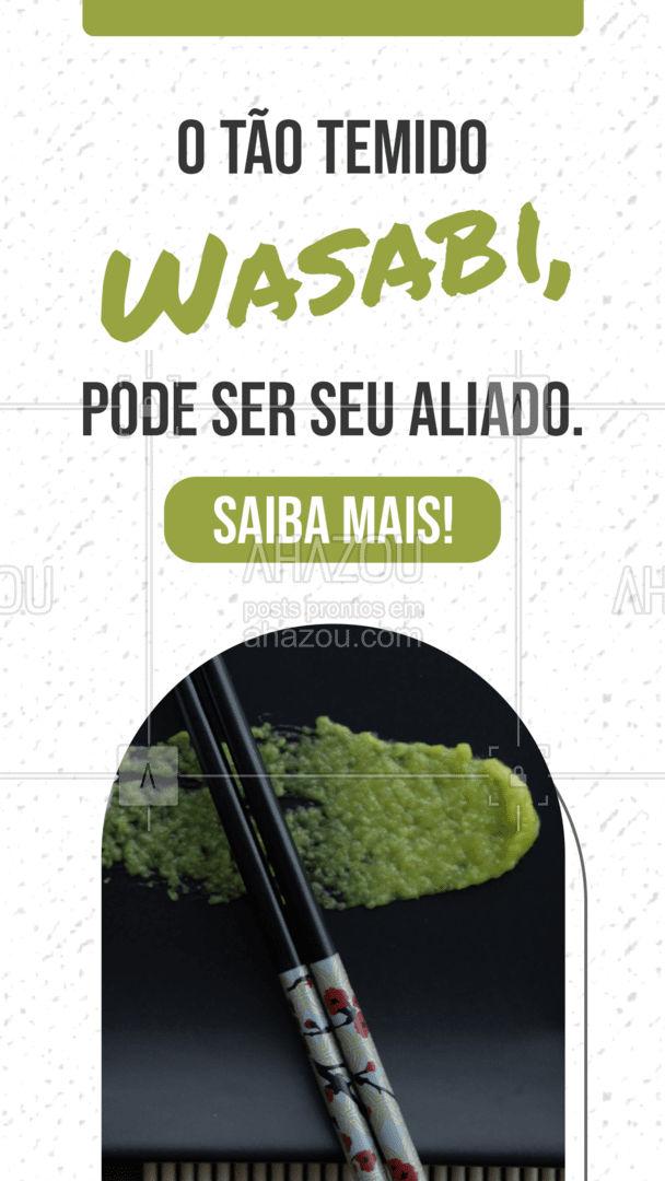 Você sabia que Wasabi ajuda no processo digestivo e é altamente bactericida? Pois é, ela é rica em potássio, cálcio, magnésio, fósforo e oferece benefícios à saúde por apresentar propriedades antibióticas. A raiz forte geralmente é adorada ou odiada por quem aprecia a comida japonesa no Brasil. Por causa dessa relação de amor e ódio, muitos restaurantes optam por deixá-la fora da preparação das receitas e disponível apenas no prato. No Japão, um sushi é preparado já com a raiz. ?❤️ #ahazoutaste #eat #ilovefood #instafood #foodlovers #ahazoutaste
