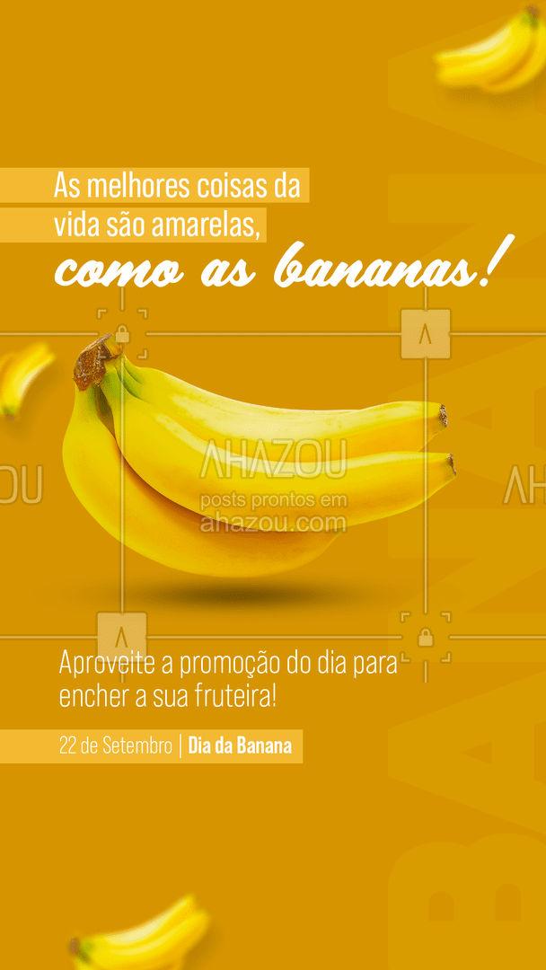 Além de melhorar o seu humor e bem estar, a banana é repleta de vitaminas e nutrientes para o seu corpo! 🍌 #diadabanana #banana #ahazoutaste  #hortifruti  #vidasaudavel  #alimentacaosaudavel  #frutas