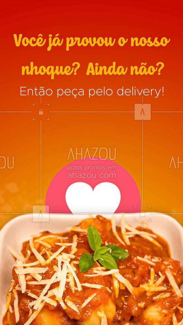 Nosso nhoque tem uma massa super leve e saborosa feita com muito carinho para você! Entre em contato e peça já o seu! #pasta #restauranteitaliano #massas #comidaitaliana #ahazoutaste #italianfood #italy #cozinhaitaliana #nhoque #delivery