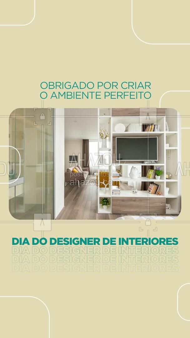 Parabéns por transformar e criar ambientes especiais! Parabéns pelo seu dia, Designer de Interiores! #AhazouDecora #AhazouArquitetura  #designdeinteriores #decoracao #diadodesignerdeinteriores