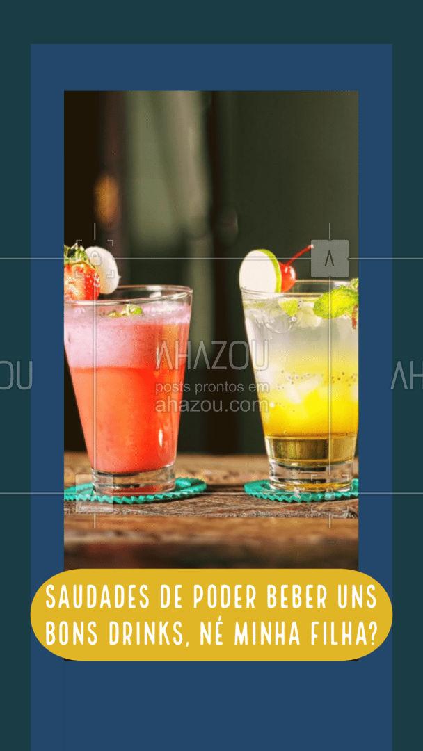 Sabemos que vocês estão com aquela saudade de poder tomar uns bons drinks e que tal vocês virem aproveitar a noite de hoje e comemorar algo que aconteceu de bom no seu dia? ? #Drinks #Saudades #Convite #ahazoutaste #Drauzio #Bebidas