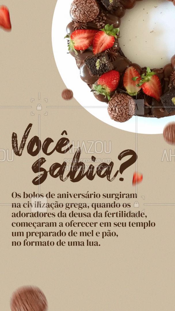 Que os bolos de aniversário são uma delícia todo mundo sabe... mas você sabe como eles surgiram? Confira no post acima! 🍰😍 #ahazoutaste #foodlovers  #confeitaria  #kitfesta #bolocaseiro
