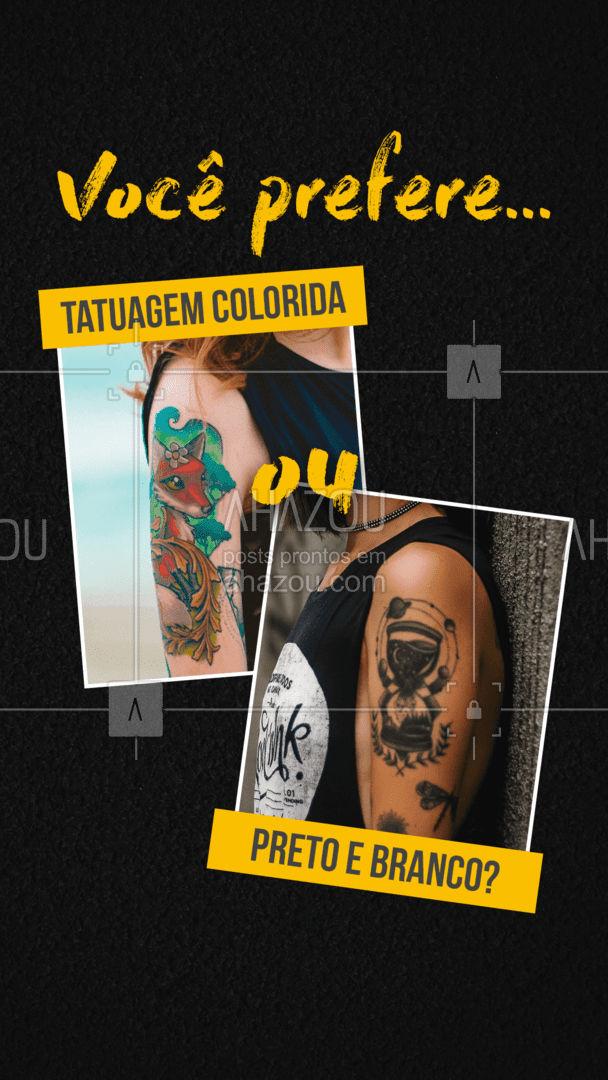 A dúvida do dia é se vocês curtem mais tatuagem colorida ou preto e branco, deixe o seu comentário aqui em baixo ? #AhazouInk  #tattoo #tatuagem #colorida #pretoebranco #cor