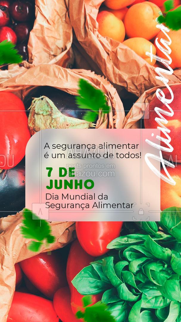 A segurança alimentar trabalha para garantir o direito de todo ser humano de se alimentar corretamente, por isso é muito importante usarmos essa data para conscientizar sobre a sua importância! ??  #segurancaalimentar #diadasegurancaalimentar #AhazouSaude #alimentacaosaudavel #nutricao