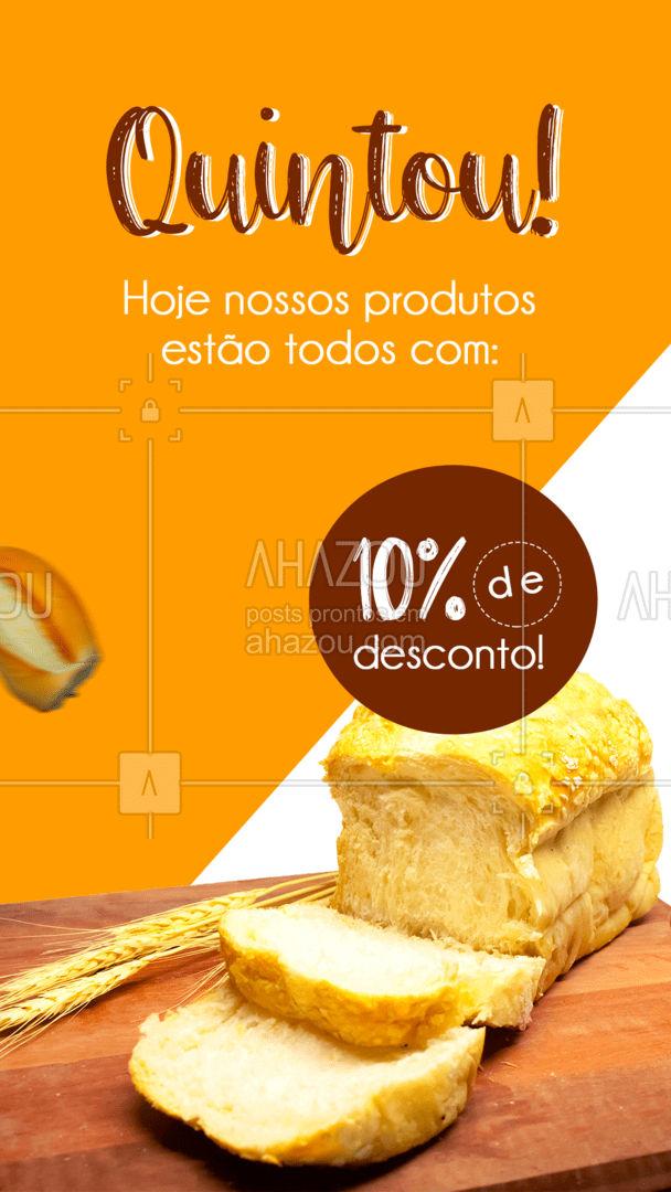 Eu ouvi DESCONTO? SIMMM! ? Aproveite os 10% off de quinta em nossos produtos! #ahazoutaste  #bakery #pãoquentinho #padaria #panificadora #confeitaria #padariaartesanal