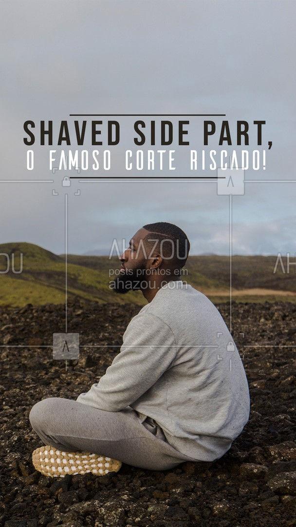 """O corte """"Shaved Side Part"""" ou apenas """"Corte Riscado"""" é aquele onde o corte é mais curto na parte de cima e nas laterais é raspado. O grande charme desse corte é a linha lateral, que serve como divisão. O corte traz um visual mais elegante e sofisticado. E aí, o que achou desse estilo? Conte para nós nos comentários. ??  #AhazouBeauty  #barbeirosbrasil #barbeiro #barbearia #barberShop #cuidadoscomocabelo"""
