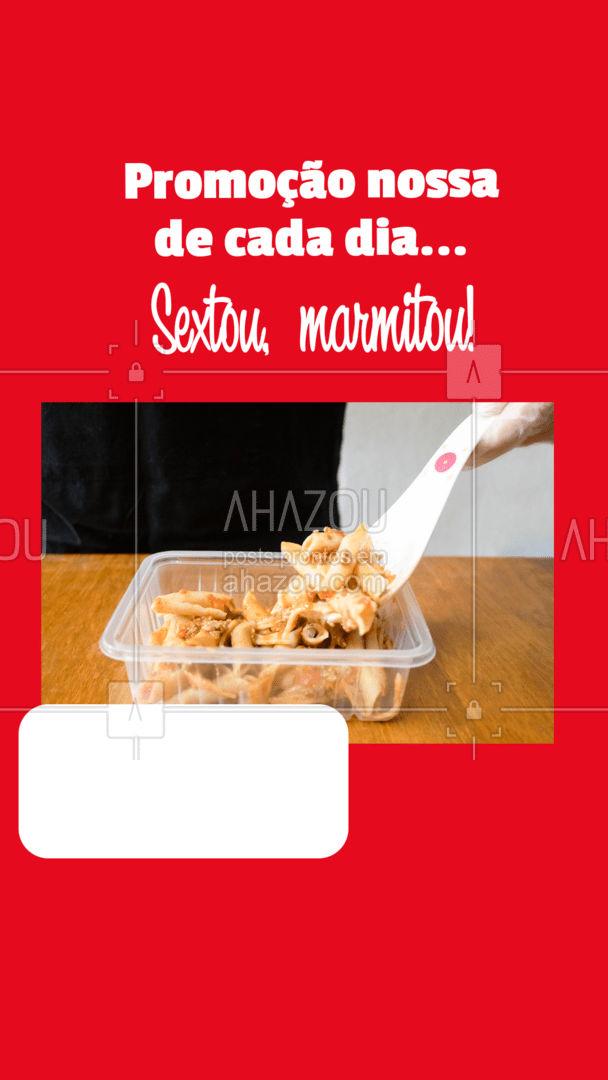A promoção chegou rapidinho nessa sexta, mas sua marmita vai chegar bem mais rápido aí na sua casa! ? #ahazoutaste  #marmitex #marmitas #marmitando #comidacaseira #comidadeverdade #pedido #delivery #promoçãodesexta #marmitou #promoção