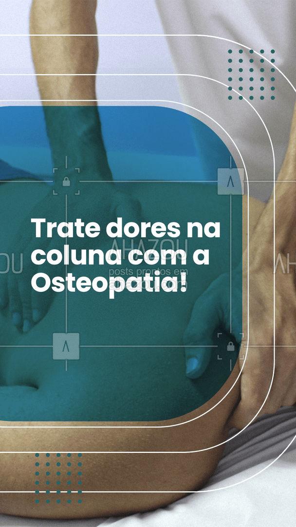 A Osteopatia é uma ótima aliada ao tratamento de dores na coluna. Entre em contato e faça uma avaliação! #AhazouSaude #osteopatia  #fisio  #fisioterapeuta  #qualidadedevida  #physiotherapy  #fisioterapia
