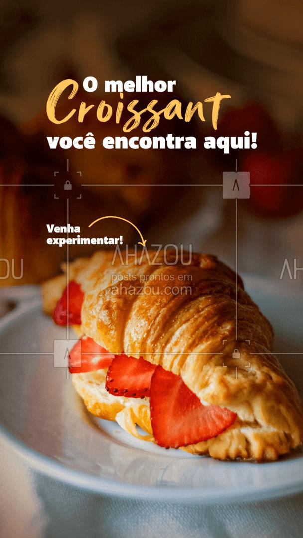 Você sabia que um bom croissant deve ser feito exclusivamente com manteiga e apresentar camadas bem definidas? Um dos indícios é a presença de alvéolos no interior da massa. Além disso, deve ser crocante por volta e macio por dentro. Venha experimentar nosso Croissant! #ahazoutaste #padaria  #pãoquentinho  #padariaartesanal  #cafedamanha  #panificadora  #bakery  #confeitaria