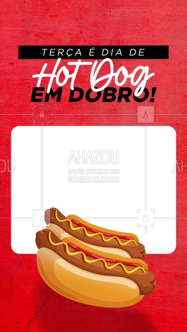 Terça com tudo em dobro! Vem comer o hot dog que você tanto ama - em dobro! #ahazoutaste #hotdog  #hotdoglovers  #hotdoggourmet  #cachorroquente  #food #promoção #promo #terçaemdobro #hotdogemdobro