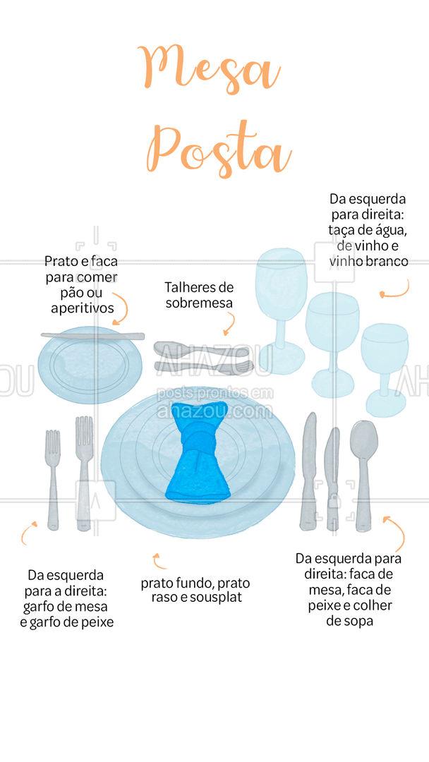 Na mesa posta, a escolha de cada talher, prato e taça é feita pensando na harmonia e elegância na hora da alimentação. Dá uma olhada no post um exemplo de cada elemento da mesa posta! ?️   #buffet #ahazoutaste  #catering #eventos #mesaposta