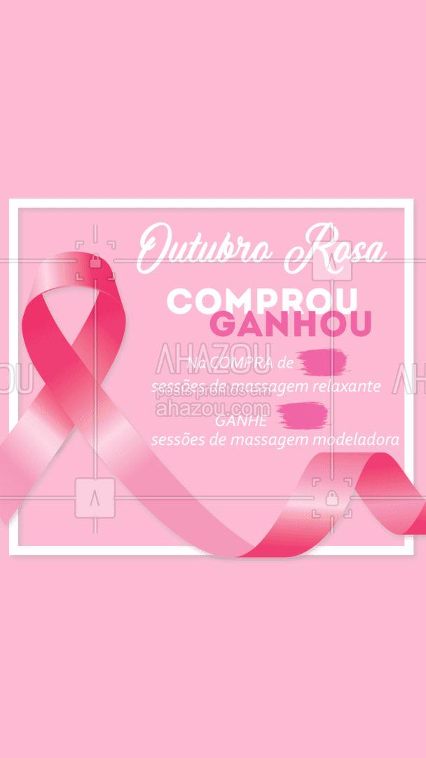 Outubro é o mês da prevenção do câncer de mama! E pra apoiar essa causa, durante o mês todo vai rolar uma promoção especial! Não fique por fora dessa e marque uma amiga para que ela fique por dentro da promoção. Dúvidas e agendamentos fale com a gente pelo Whatsapp (Inserir número). Nós apoie nessa causa ? #AhazouSaude  #massoterapia #massoterapeuta #massagem