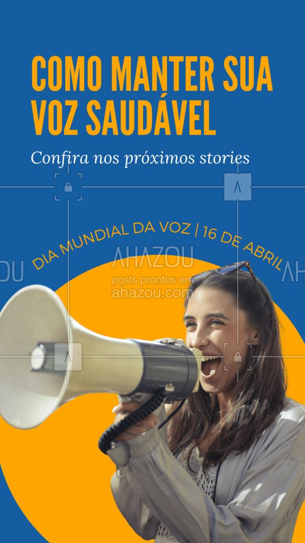 16 de Abril é o Dia Mundial da Voz! Separamos algumas dicas para você manter sua voz saudável. Confira! #AhazouSaude  #fonoaudiologia #fono #qualidadedevida #viverbem #fono #diamundialdavoz