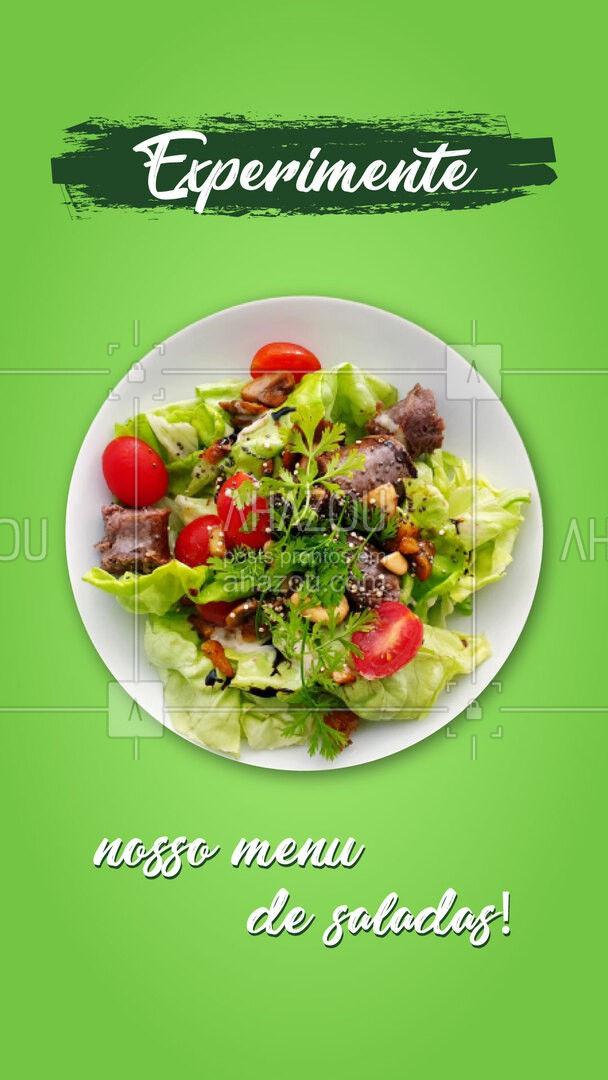 Você já conhece nosso menu de saladas? Uma opção mais saborosa que a outra! #salada #comidadeverdade #ahazoutaste #fit #saudavel