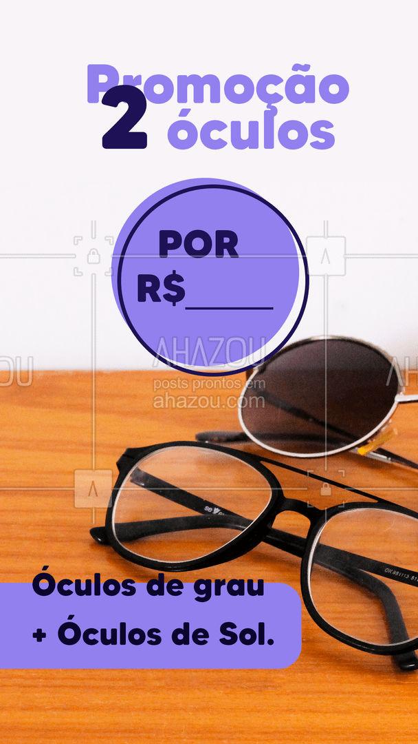 Deu a louca no gerente e liberamos uma promoção maluca, 2 óculos por R$___. Confira condições e aproveite nossa promoção. ?️? #AhazouÓticas #oculosdesol #oculosdegrau #oculosdamoda #oculosfeminino #oculosmasculino