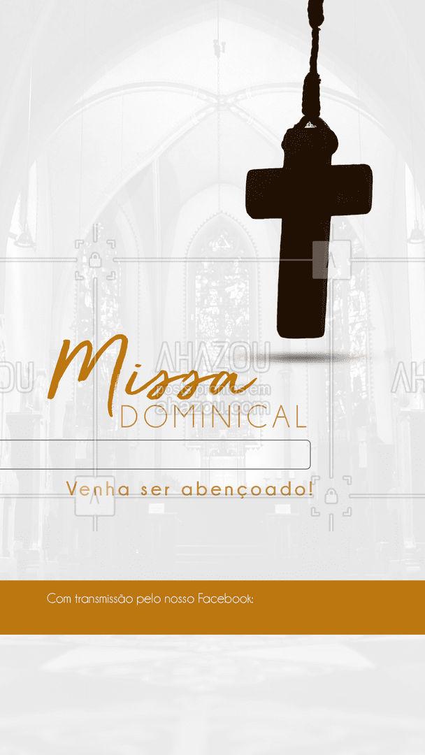 Participe da nossa Missa Dominical!  Se você não puder participar presencialmente, assista direto da sua casa através da nossa transmissão ao vivo no nosso Facebook.  #Missa #MissaDominical #SantaMissa #fé #AhazouFé  #orações  #JesusCristo