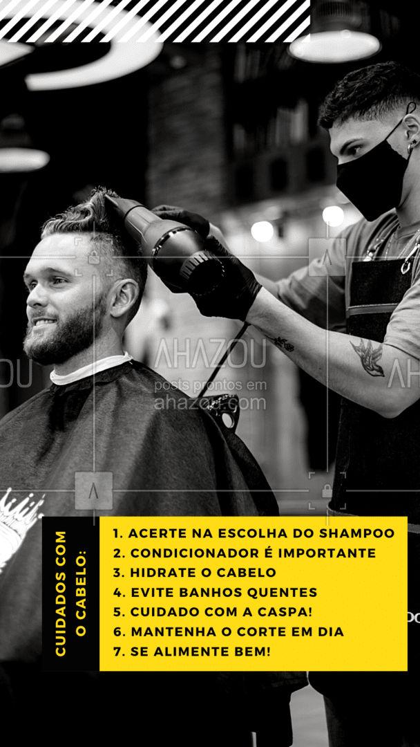 Assim como a sua barba é o seu xodó e você cuida super bem dela, você também precisa ter os mesmos cuidados com o seu cabelo. ????  #AhazouBeauty  #dicas #cuidados #cabelo #cabelomasculino #saudecapilar #homem  #barbeiro #barbearia