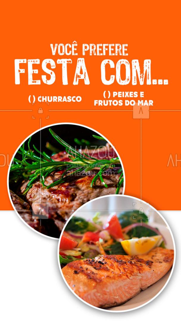 O que você escolheria na sua festa? Um churrasquinho com pagode ou um jantar chique cheio de frutos do mar? #ahazoutaste  #casamento #eventos #foodie #buffet #enquete