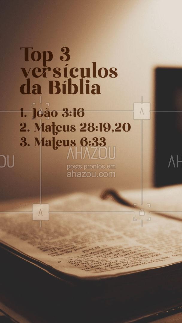 Qual seu top 3 versículos da Bíblia? Deixe aqui nos comentários! #AhazouFé #fécristã #Cristo #féemDeus #biblia #versiculo #orações #fé #AhazouFé