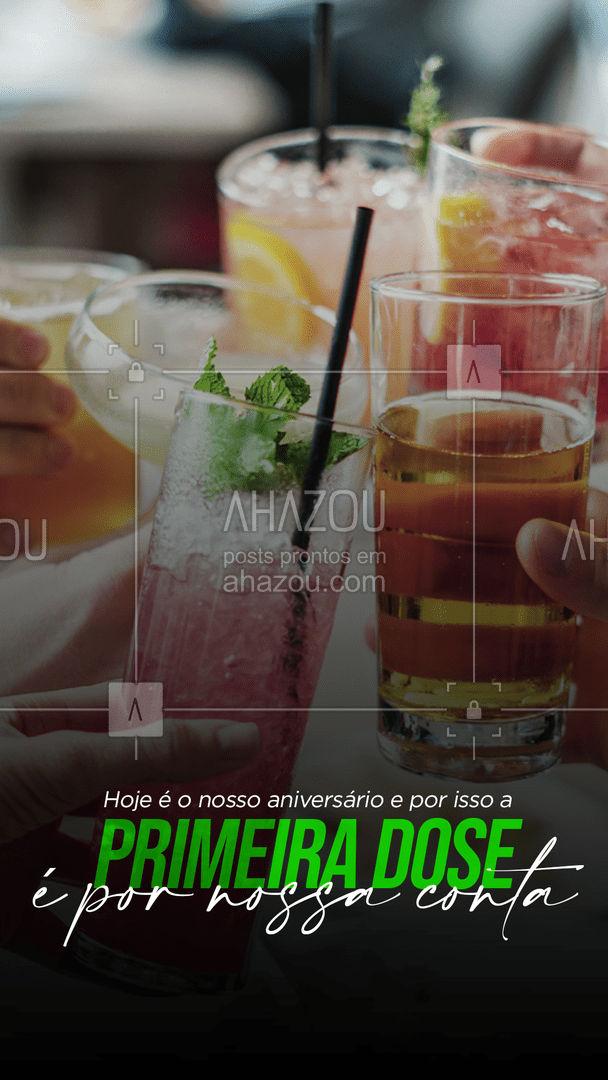 Não é todo dia que fazemos aniversário. E o melhor presente é a sua presença! Por isso, hoje a primeira dose é por nossa conta. Porque o importante é comemorar com quem a gente gosta.  Esperamos você.  #ahazoutaste #bar #aniversario #drinks  #pub