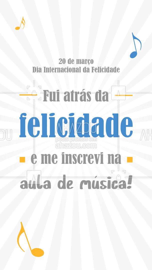 A música tem o dom de trazer alegria ao mundo. Que tal deixar o seu dia da felicidade ainda mais completo? Venha se matricular na nossa aula de música! #professordemusica #AhazouEdu #música #aulademusica #felicidade #diadafelicidade #diainternacionaldafelicidade