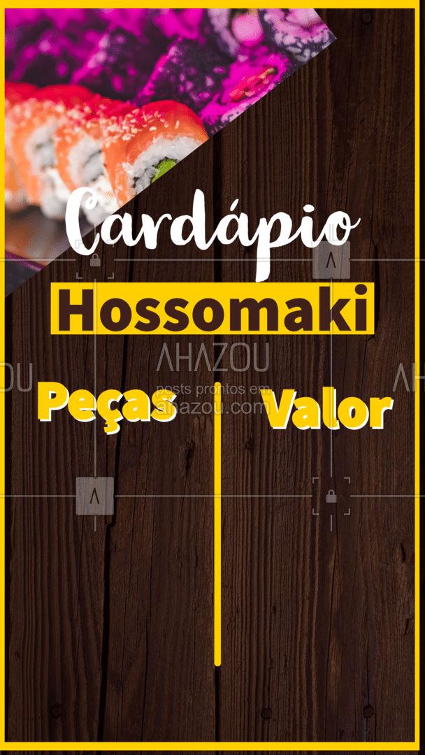 Confira nosso cardápio com as peças de hossomaki. Entre em contato caso tenha alguma dúvida ou para fazer o seu pedido. #cardapio #comidajaponesa #ahazoutaste #editaveis #sushi #japa
