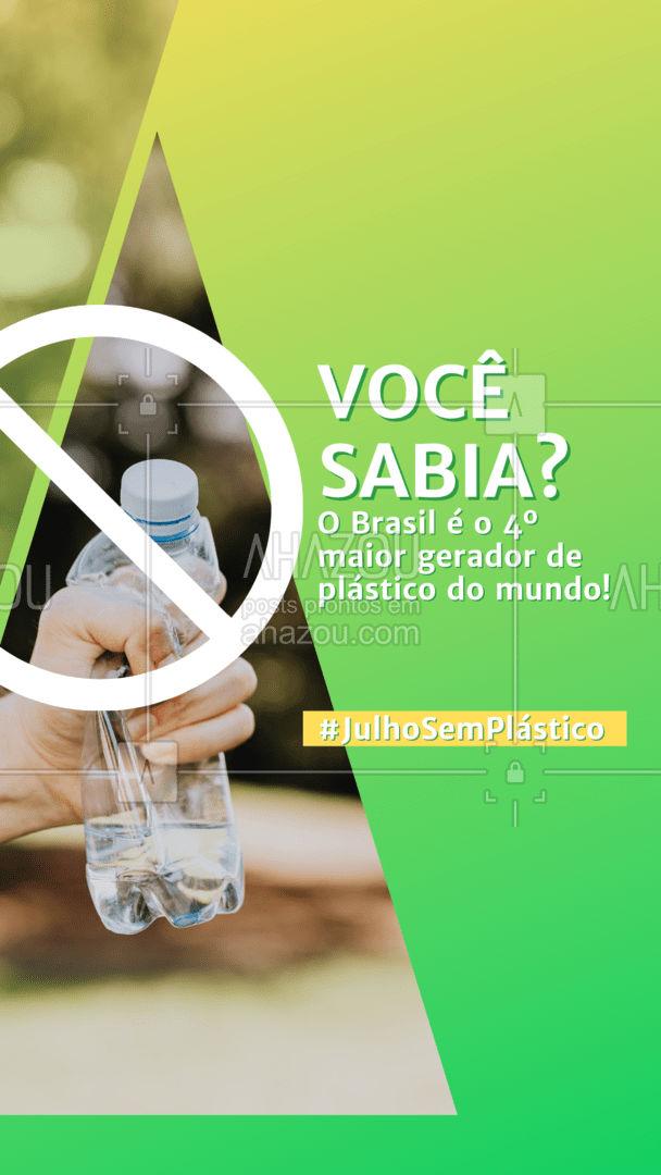 Todos os dias, uma quantia gigantesca de plástico é descartada após ser usada uma única vez. E se, por um mês, tentarmos reduzir o nosso consumo desse tipo de plástico? Quem está comigo nessa causa? ?  #julhosemplastico #meioambiente #ahazou #sustentabilidade #eco #plasticos