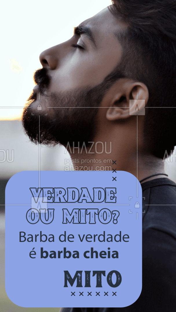 MITO!!!! A barba de verdade é a SUA BARBA! Uma barba de valor é uma barba bem cuidada que respeita seu formato natural. É sempre bom lembrar que cada barba é unica na cor, formato e quantidade de pelos, o importante é você encontrar o seu estilo! #MitoOuVerdade #BarbadeVerdade #AhazouBeauty #DicasBarbeiro  #barbearia