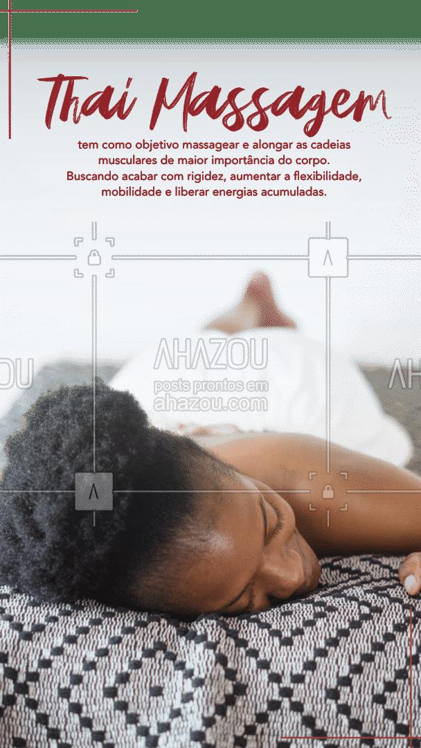 Essa massoterapia utiliza diversas técnicas que combinam pressão, manipulação corporal, torção e muitos outros exercícios que buscam eliminar as energias acumuladas e presas, aumentar a mobilidade e flexibilidade e diminuir a rigidez muscular. #ThaiMassagem #tratamento #AhazouSaude  #massoterapia #massagem
