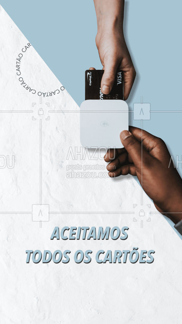 Facilidade e comodidade até no pagamento, pois aceitamos todos os cartões de crédito ou débito. #AhazouTec #AssistenciaCelular #celulares #eletrônicos #AssistenciaTecnica #tablets #computadores #AhazouTec #AhazouTec