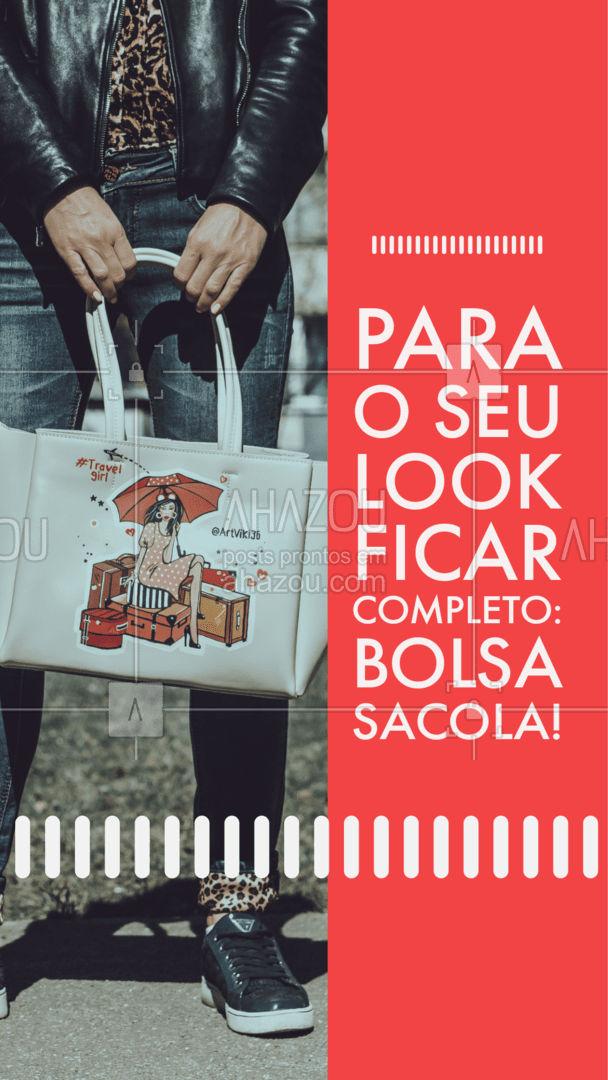 """É um modelo de bolsa super prático e versátil! É aquela bolsa """"coringa"""", que não pode faltar no seu guarda roupa!  #AhazouFashion #bolsasacola #bolsas  #acessorios #tendencia"""