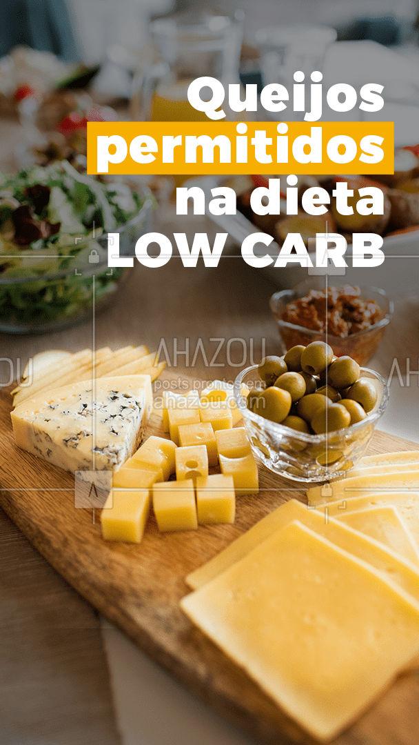 Sempre ouvimos que os queijos brancos são mais saudáveis e os mais recomendados para quem está seguindo um dieta para controlar ou reduzir o peso.  Mas os queijos mais amarelos, que são mais envelhecidos e gordurosos, apresentam uma menor quantidade de carboidratos. Quanto maior for o tempo de fermentação, mais intensa a cor amarelada e menor a presença a lactose.  Confira os queijos permitidos na dieta low carb:  - Prato - Provolone - Parmesão - Grana Padano - Gouda - Brie - Gorgonzola - Cheddar - Canastra - Coalho - Camembert - Queijo Azul - Gruyère - Roquefort - Emmental - Colonial #ahazoutaste #fit  #crueltyfree