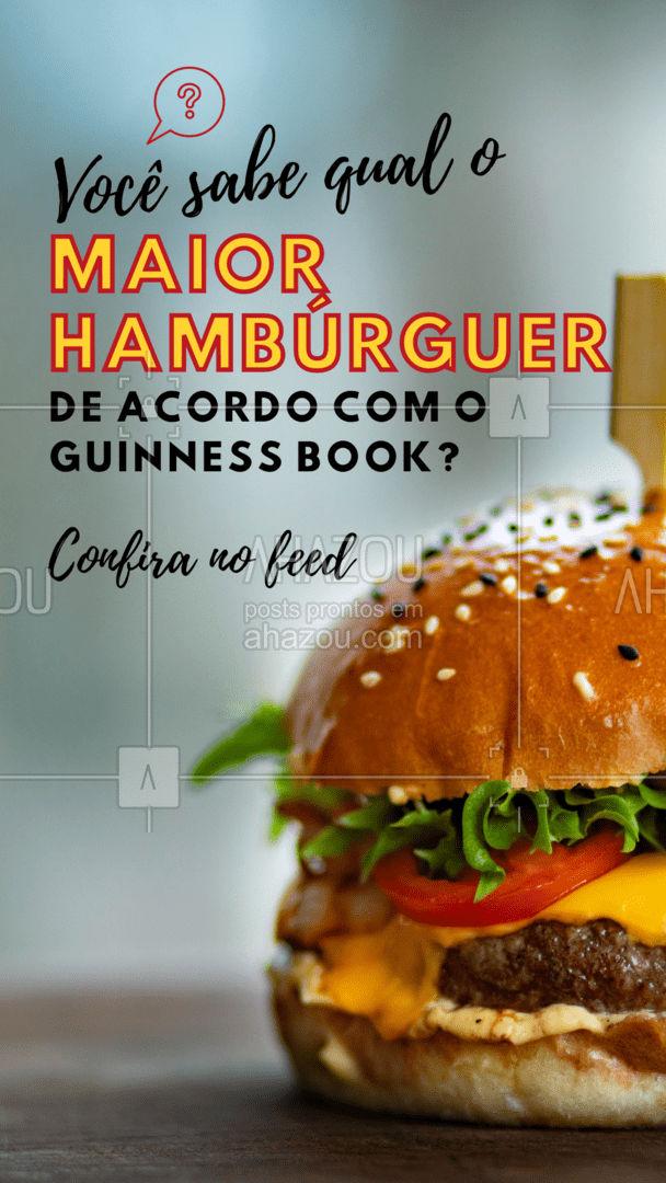 De acordo com o Guinness Book, o maior hambúrguer foi criado em 9 de julho de 2017, na cidade de Pilsting, Alemanha. O lanche com três enormes discos de carne, tomates, alfaces, pepinos, cebolas, molho de hambúrguer e um pão pesava 1.164,2 kg. #OMG #ahazoutaste  #burger #hamburgueria