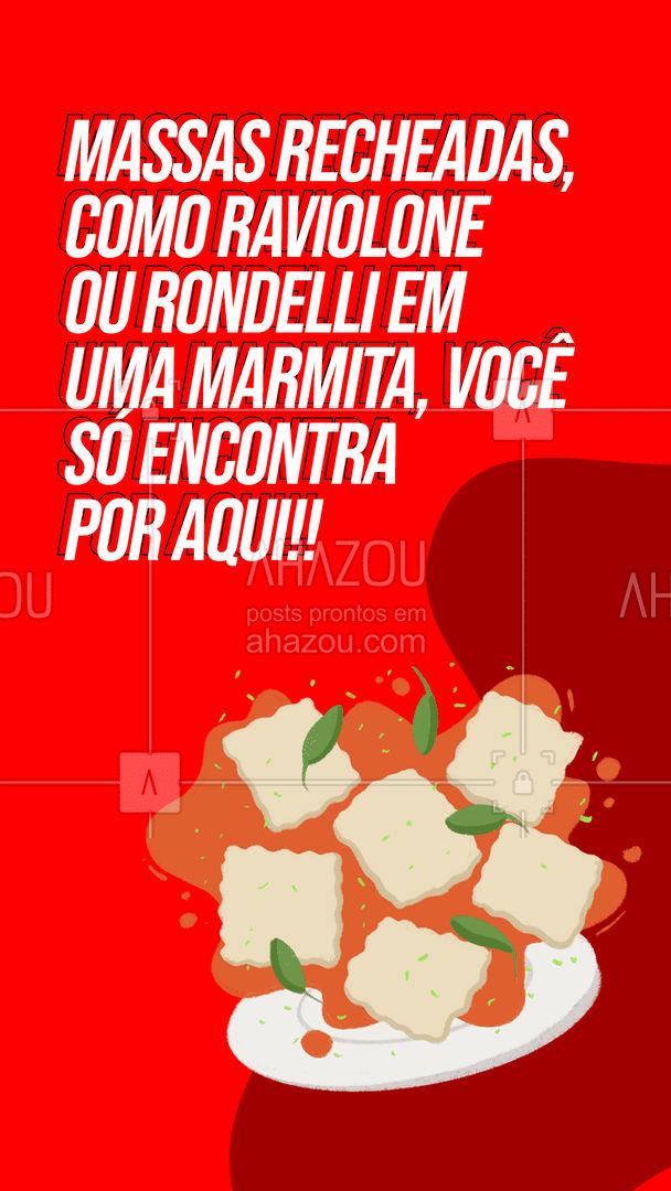 Sinta o sabor da massa italiana sem sair de casa, só pedir o seu!!  #ahazoutaste  #marmitex #comidacaseira  #marmitas #italianfood #tradição
